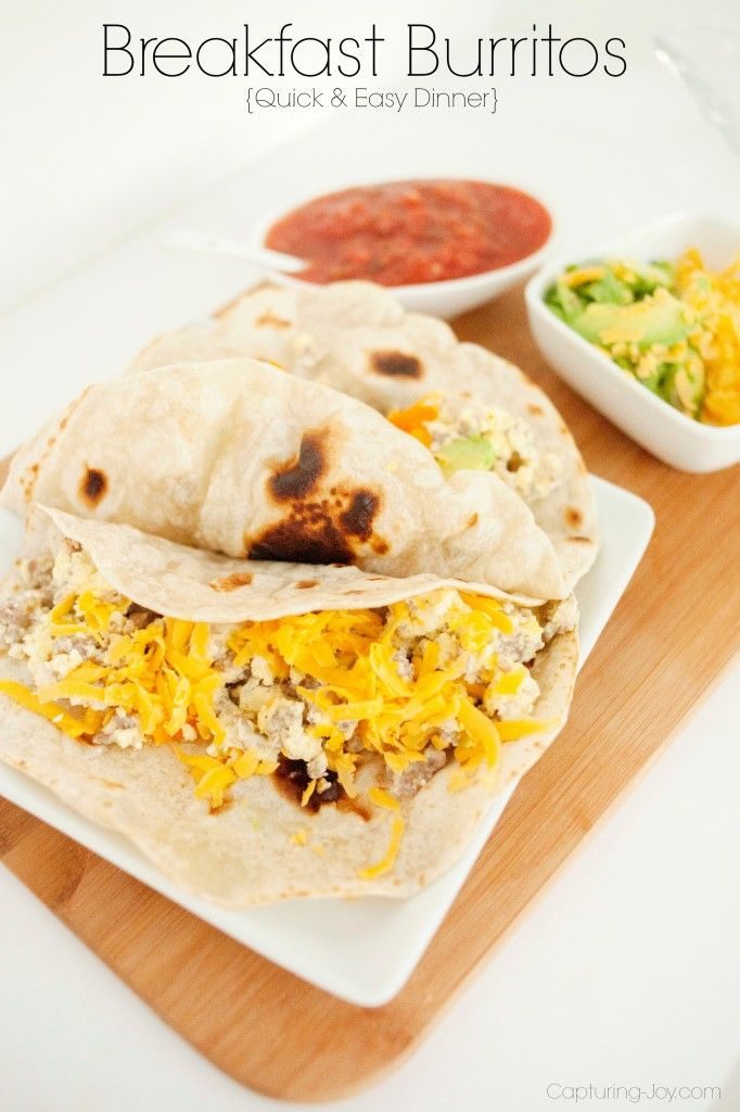 Breakfast Burritos for Dinner, quick and easy recipe the kids will LOVE!