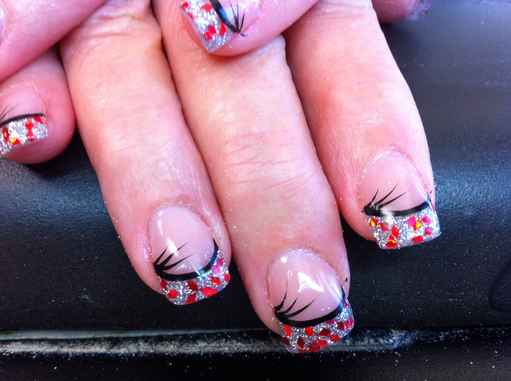 silver red and black nail art acrylic nails