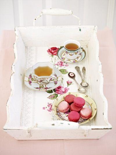 Tea & macarons...LOVE this tray! I think I may need to make one similar :D