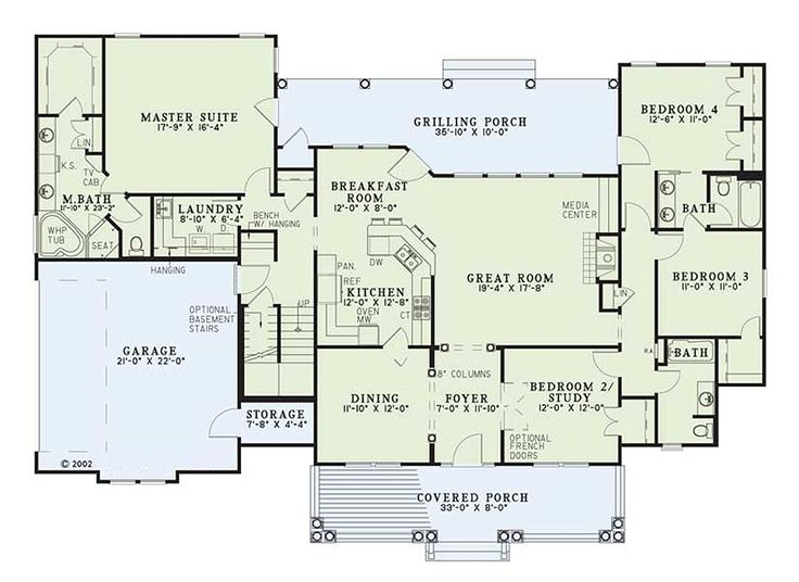 Country Style House Plan - 4 Beds 3 Baths 2373 Sq/Ft Plan #17-421 Floor Plan - Main Floor Plan - Houseplans.com