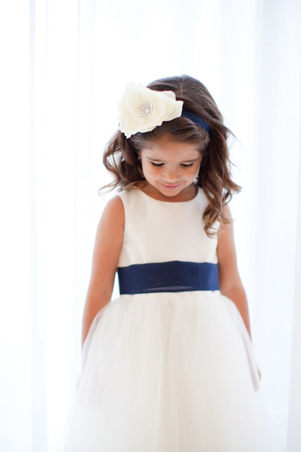 flower girl dress - adorable Dessy dress. Tulle skirt, navy sash. The headband would be really cute for Abby