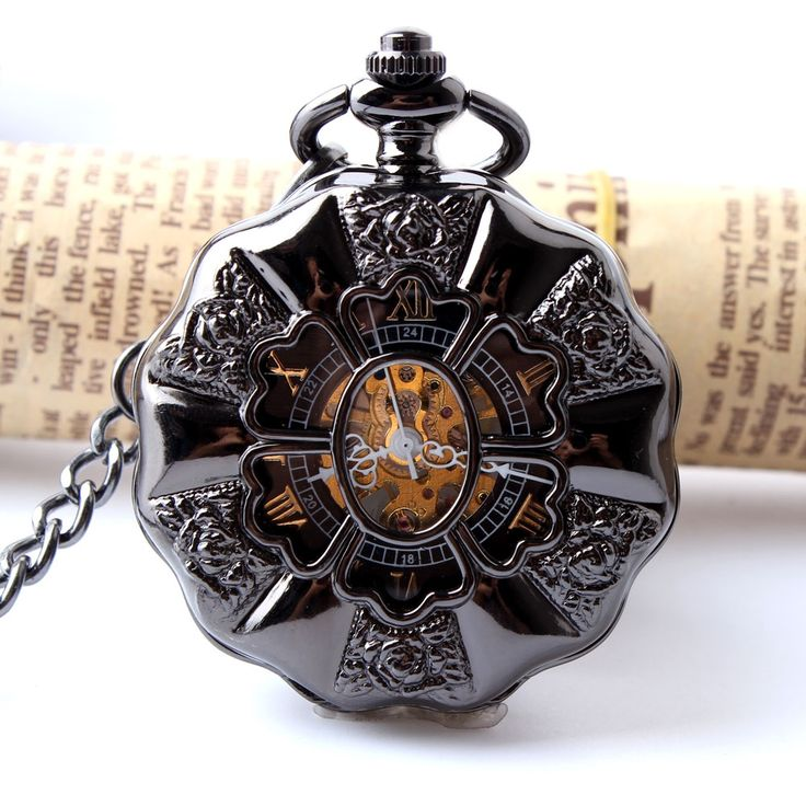 12.30$  Watch here - http://alij37.shopchina.info/1/go.php?t=32550712544 - Black Full Steel Luminous Mechanical Pocket Watch Steampunk Vintage Hollow Analog Skeleton Hand Winding Mechanical Pocket Watch  #magazineonlinewebsite