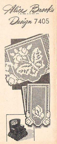 Alice Brooks 7405 Filet Crochet Butterfly Chair Set Pattern Doily