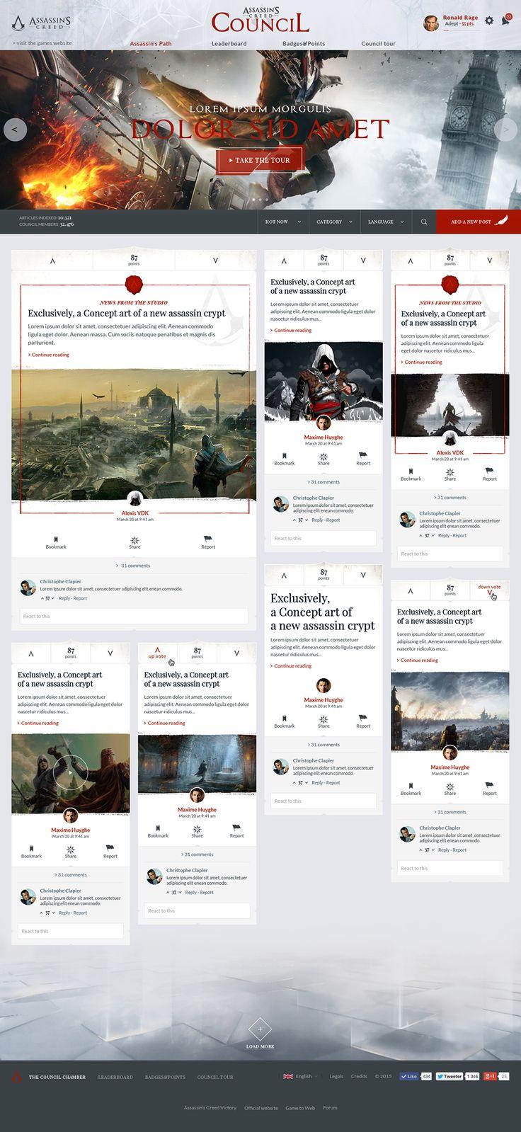 Assassin's Creed Council on Behance #Ui #ux #design #webdesign #ubisoft #geek #forum