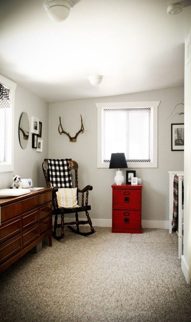 Love the mild country theme....no antlers please,  but the black, white and grey, with a pop of red is great!