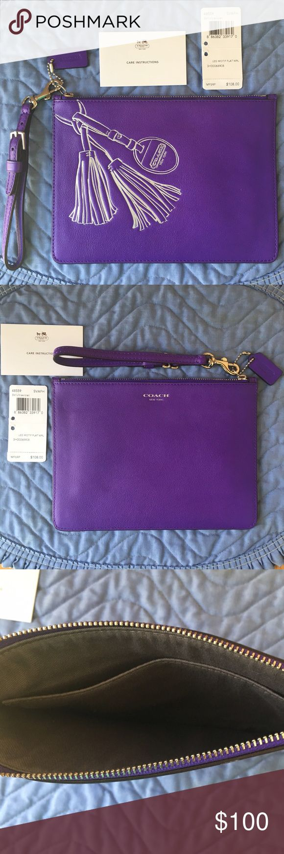 "💜 Coach Legacy Motif Flat Ultraviolet Wristlet Rare retired piece with tag & care card! Authentic Coach Legacy Motif Flat Wristlet in Silver/Ultraviolet; Style #48559, SVAFH. Dimensions: 8.25"" L x 6"" H. Features beautiful leather with embossed Trompe L'oeil motif; fabric interior with large slip pocket; zip-top closure; detachable strap with clip to form a wrist strap or attach to a bag; and mini Coach hangtag. 💜 Coach Bags Clutches & Wristlets"