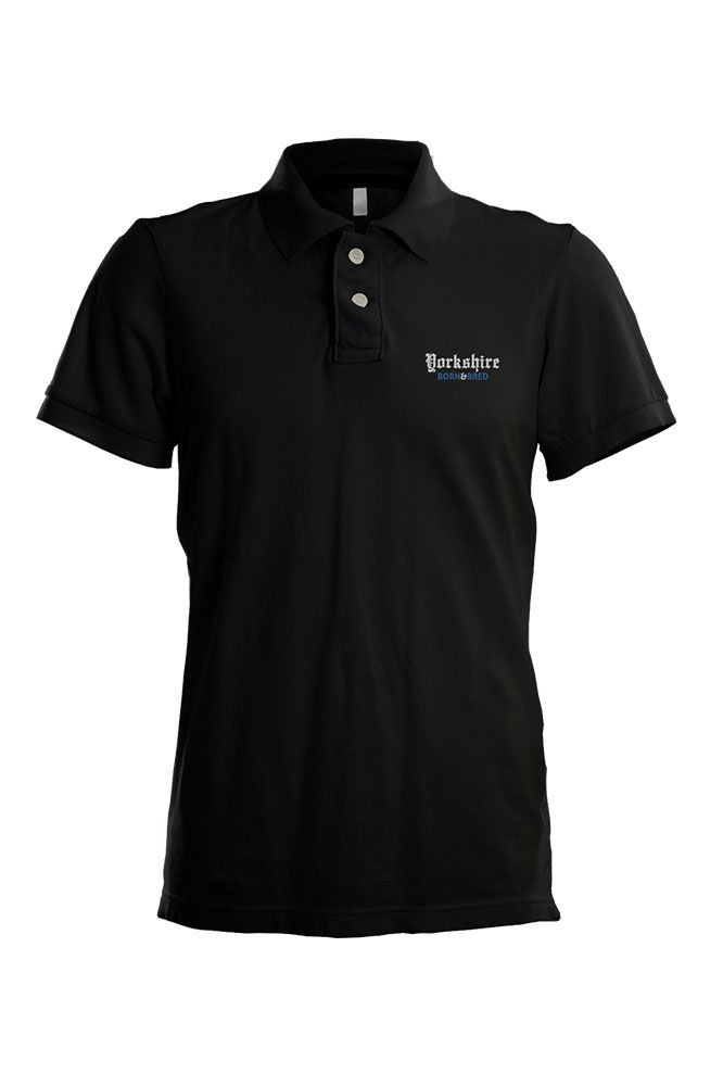 841f149b Black unisex 50/50 poly-cotton mix polo shirt with 'Yorkshire Born ...