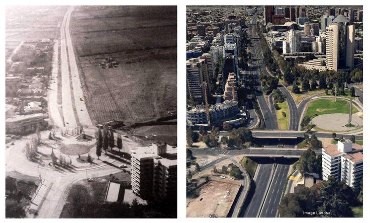 Avenida Kennedy hacia el oriente, esquina Américo Vespucio. Década de 1960 y 2015.