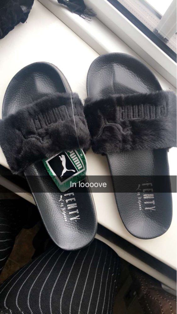 Rihanna sold out Fur Puma Fenty Slipper shoes. Comes with box. Shipping and processing takes 5 to 7 business days.