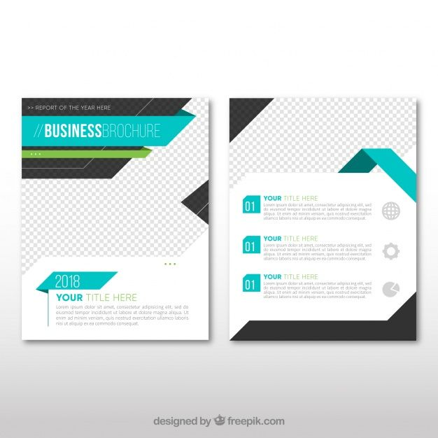 Business leaflet template with blue elements Free Vector