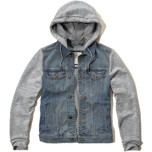 Hollister Denim Twofer Jacket ($90) ❤ liked on Polyvore featuring men's fashion, men's clothing, men's outerwear, men's jackets, medium wash, mens hooded denim jacket, mens denim jacket, mens short sleeve jacket, mens leather sleeve denim jacket and mens hooded jackets
