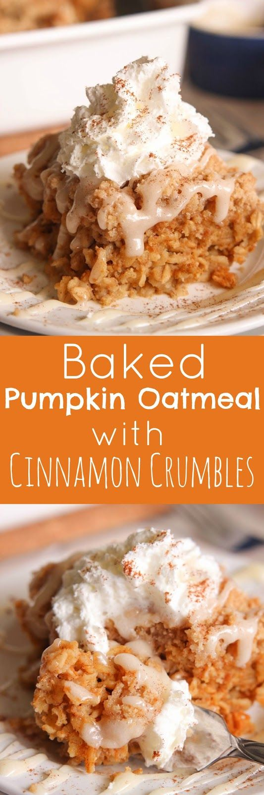 Baked Pumpkin Oatmeal with Cinnamon Crumbles topped with cream cheese icing and whipped cream.