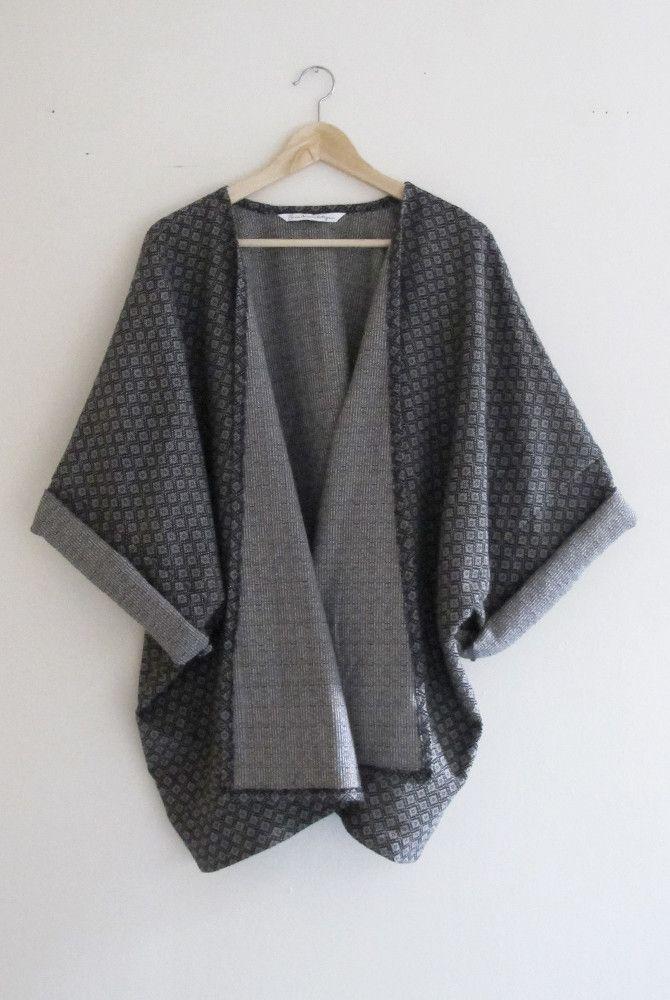 bohemian navy diamond print woven winter kimono cardigan