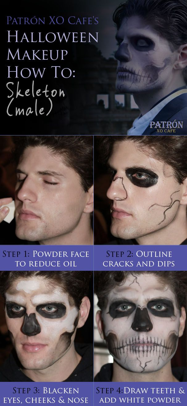 Patrón XO Cafe's skull Makeup How To: Skeleton (male)  #costumes #skeleton #makeup