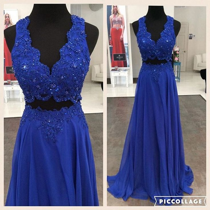 Blue Chiffon party Dress,Sexy Backless Prom Dress,Long Evening