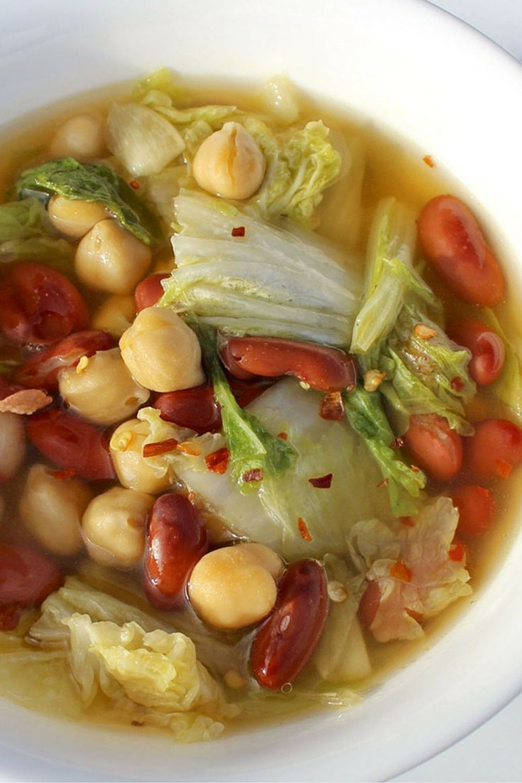 Napa Cabbage & Bean Soup | This soup is vegetarian comfort food! Ready in just 30 minutes, this delicious and very simple soup is so flavorful you'll be ladling more soup into your bowl before you knew what hit you. | TheMountainKitchen.com