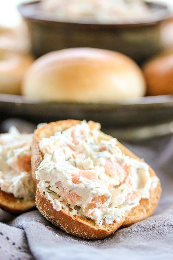 This smoked salmon bagel spread takes just minutes to prepare and it's bursting…
