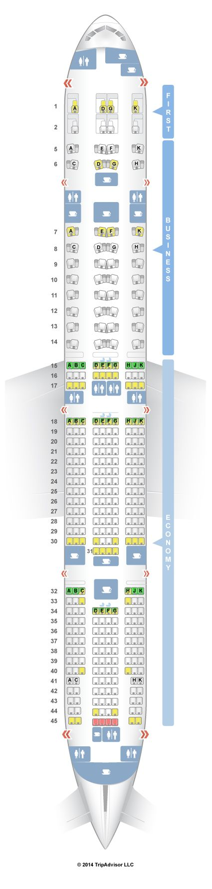 SeatGuru Seat Map Etihad Boeing 777-300ER (77W) Three Class
