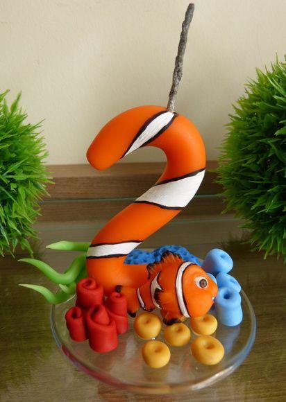 Vela decorada Procurando Nemo em biscuit