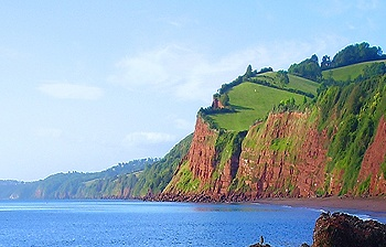 The imposing cliffs with amazing walks at the Nest holiday cottage South Devon