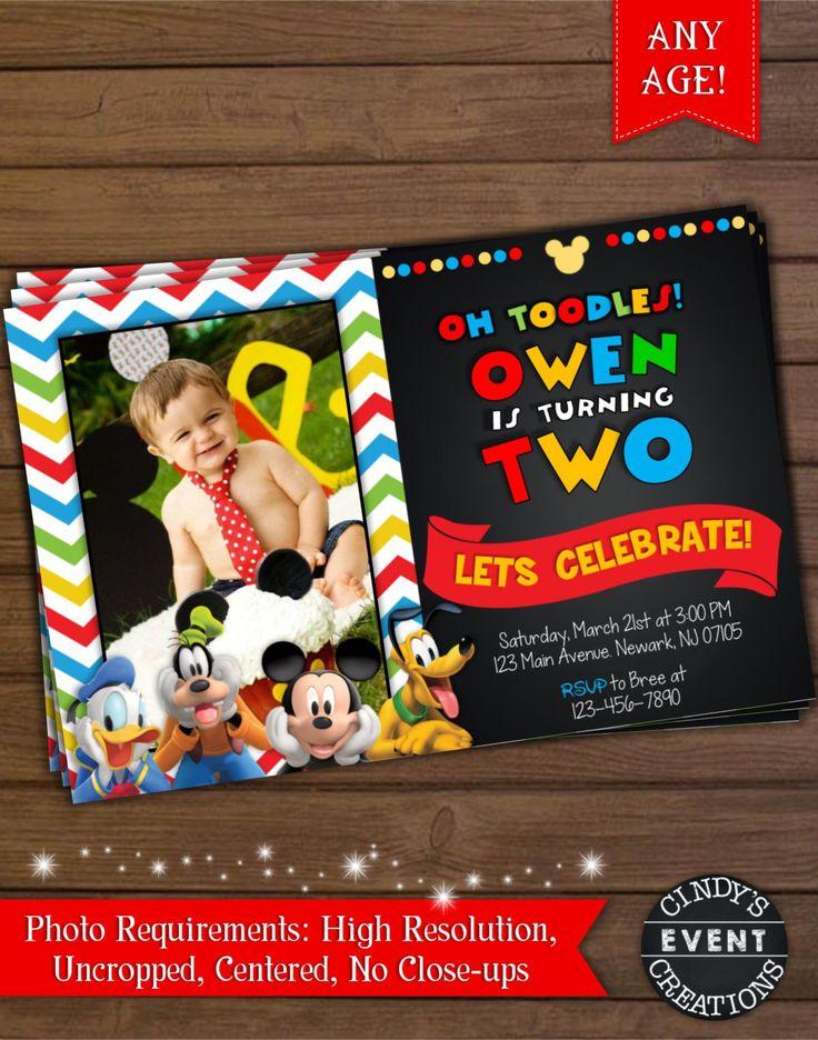 Mickey Mouse Invitation, Mickey Mouse Birthday Invitation, Mickey Mouse Clubhouse Invitation by CindysEventCreations on Etsy https://www.etsy.com/listing/224720669/mickey-mouse-invitation-mickey-mouse