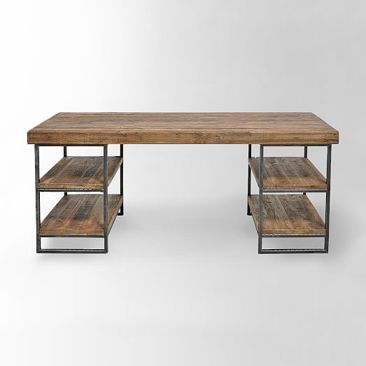"Hewn Wood Desk | west elm 67""w x 23""d x 30""h. Solid reclaimed pine. Wrought iron frame. Imported. Online/catalog only."