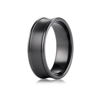 Benchmark Black Titanium 7.5mm Comfort-Fit Satin-Finished Concave Round Edge Carved Design Ring