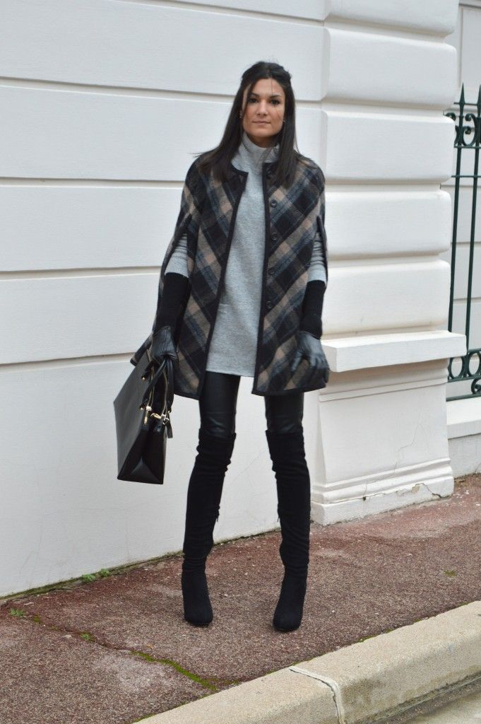 nouveau blog mode cape à carreaux zara tendance hiver 2015 cuissardes en daim talons pantalon similicuir