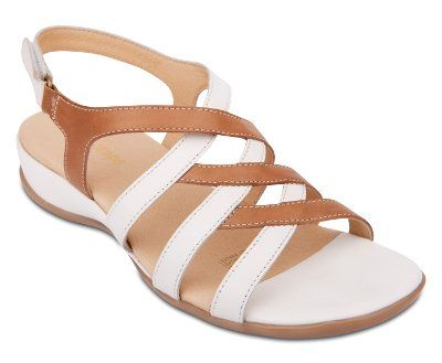 Wide Steps - Caley - White/Camel