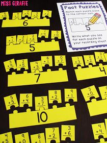 Some great ideas and resources for working on math fact fluency! From Miss Giraffe's Class: Fact Fluency in First Grade