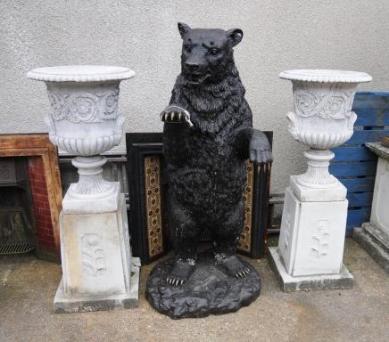 Pair Victorian Stone Garden Campana Urns Pedestal Bases