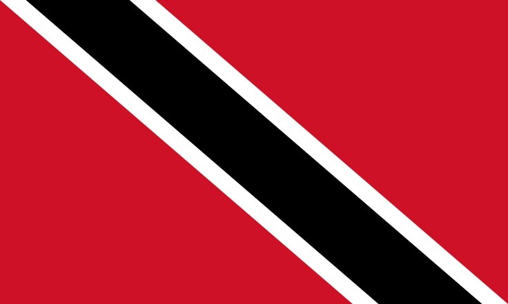 National flag of Trinidad and Tobago from http://www.flagsinformation.com/trinidad_and_tobago-country-flag.html  Red with a white-edged black diagonal band from the upper hoist side to the lower fly side