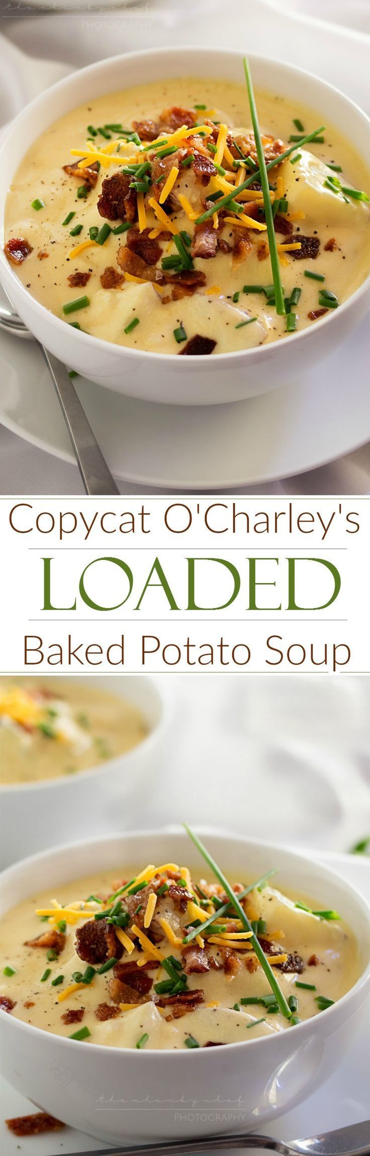 Copycat Loaded Baked Potato Soup | Creamy and thick, this potato soup is topped with savory cheese, fresh chives and crumbled bacon. It tastes just like O'Charley's loaded baked potato soup!
