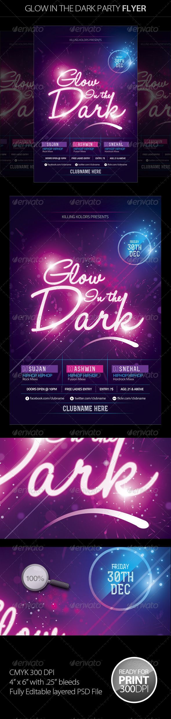 Glow in the Dark Party Flyer II  #GraphicRiver         Glow in the Dark Party Flyer is unique and colourful party flyer,  It is perfect for any kind of your parties, the main file include .psd file (Photoshop file)  It is very easy to edit all the text colors images etc.  	 File Feature:  	 4×6 with .25 inch bleed 300 DPI CMYK  Easy customizable text  Organized & colored group layers Fonts & other details included in help file   	 FONTS USED: Rex /  Titillium /  Socialico /  Halo Handletter…