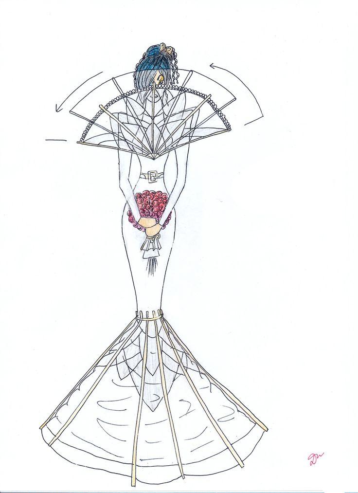 """Свадебное платье """"Веер"""" - мой эскиз Wedding Dress """"Fan"""" - my sketch  #fashion #Style #мода #design #designer #дизайнер #стиль"""