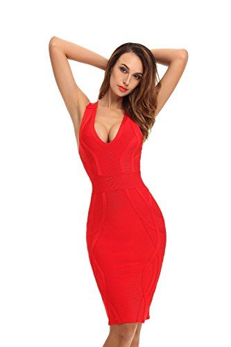 New Trending Formal Dresses: Whoinshop Womens Deep V Neck Criss Cross Back Celebrity Bodycon Bandage Dress (XL, Red). Whoinshop Women's Deep V Neck Criss Cross Back Celebrity Bodycon Bandage Dress (XL, Red)  Special Offer: $57.00  177 Reviews Whoinshop Women's Deep V Neck Criss Cross Back Midi Bandage Dress Bodycon use rayon material. Its thick material makes the dress look classy but you...