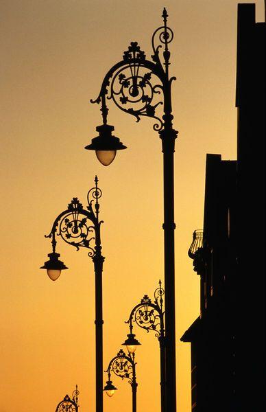 Georgian lanterns at sunset. Leinster, Dublin