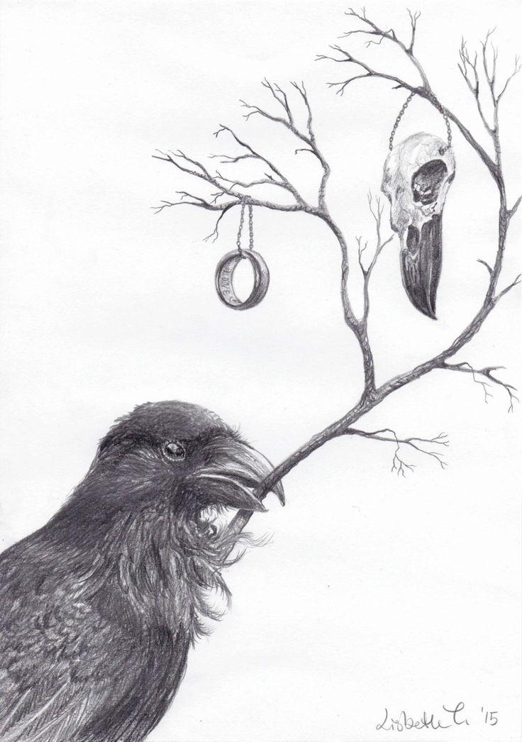 "Original Art: ""Raven with (emotional) bagage"" by ArtLisbethThygesen on Etsy #corvid #corvids #bird #art #ravenskull #Ring #magic #curiosa"