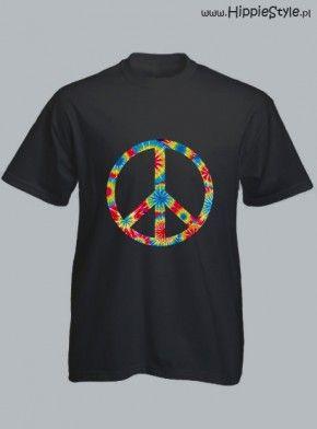 koszulka T-shirt czarny PEACE tie dye boy