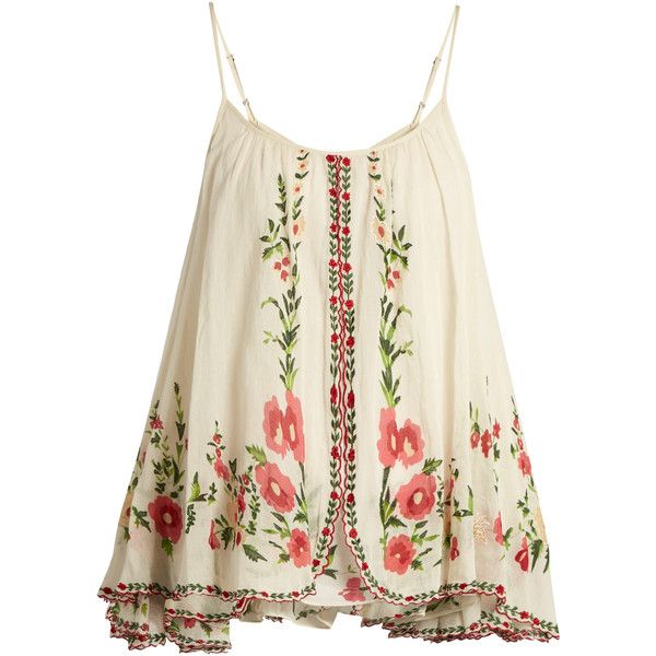 Mes Demoiselles Josephine floral-embroidered cotton top (13.090 RUB) ❤ liked on Polyvore featuring tops, shirts, cream multi, white embellished top, scalloped tops, loose fitting tops, floral tops and loose tops