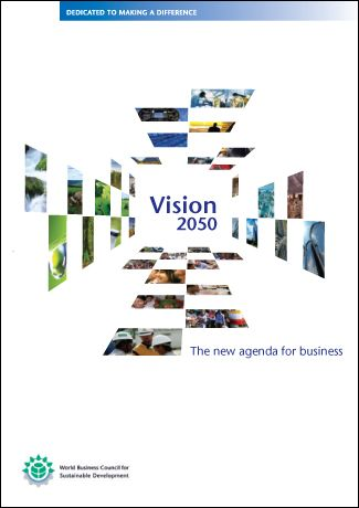 Vision 2050 is WBCSD's report for a new agenda featuring a set of agreed must-haves for a world in which 9 billion people can live well, and within the planet's resources.  The report is a consensus piece that was compiled by 29 leading global companies to help ensure a steady course towards global sustainability.  Ultimately, the report is intended to provide a springboard for dialogue and debate.