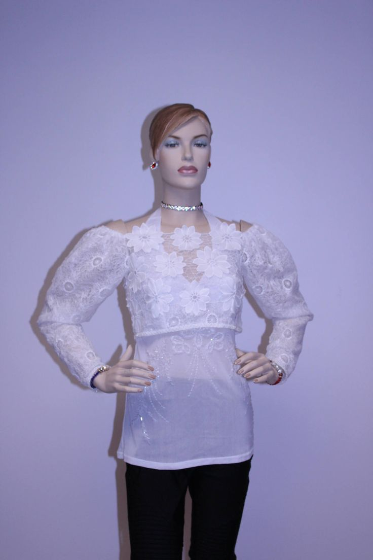 Women's Long Sleeve Shrug Button Back Lace Bolero Jacket - Sheer White bridal lace bolero by LizFaccion on Etsy  #croppedtop #briadltop #lacetop #Lace #Bolero #Jacket #LaceBoleroJacket #laceshrug #longsleeveshrug