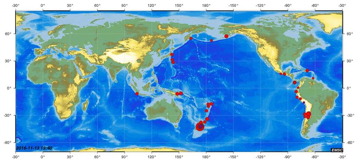 séisme 7.9 - 13/11/16 - 93 séismes supérieur à mag. 4 en 24h. Moyenne de 12/24h en temps normal