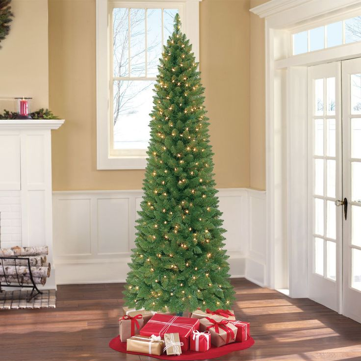 Pre Lit 7' Green Pine Artificial Christmas Tree 300 Clear Lights W Stand Pencil #PreLit7GreenPineArtificialChristmasTree