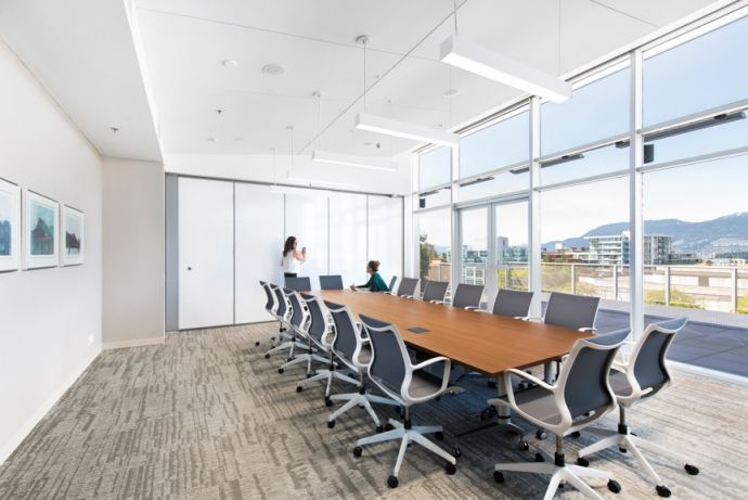Interior design of the offices of Rogers Financial by Vancouver-based interior design firm SSDG Interiors Inc.  Boardroom, moveable wall, office design
