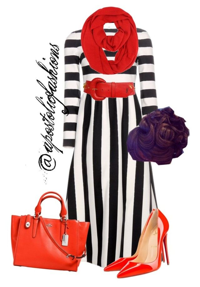 """Apostolic Fashions #1013"" by apostolicfashions ❤ liked on Polyvore featuring Valentino, Christian Louboutin, Yves Saint Laurent, Coach, women's clothing, women's fashion, women, female, woman and misses"