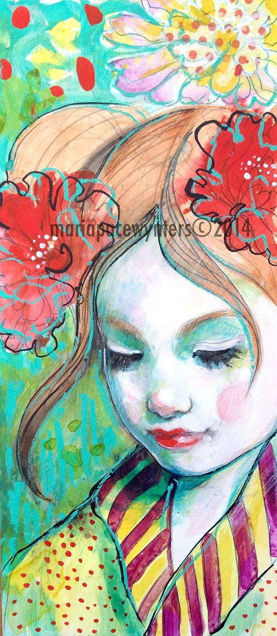 Make A Wish- Original mixed media painting by Maria Pace-Wynters