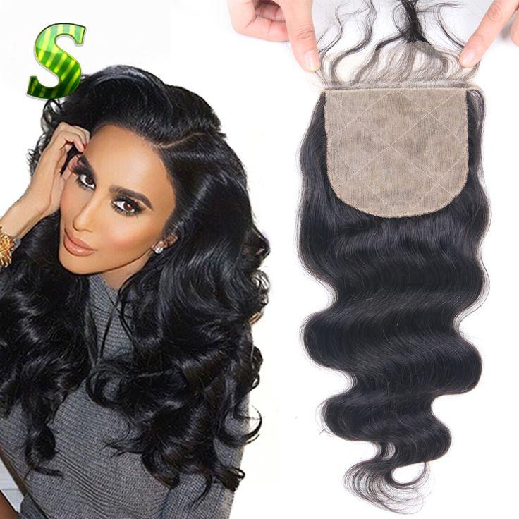 7A Peruvian Body Wave Silk Base Closure Bleached Knots Virgin Human Hair Silk Top Closure Free Middle 3 Part Silk Base Closure