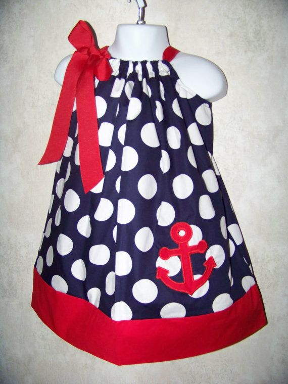 Anchor Pillowcase Dress / Sailor / Beach / Boat / Birthday / Infant / Baby / Toddler/ Girl/ Custom Boutique Clothing / Red / Blue / Big Dots