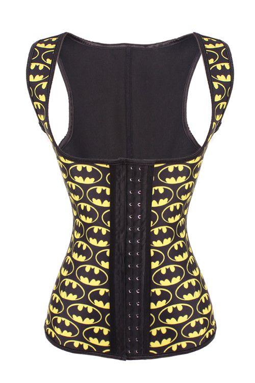 Latex Batman Print Hook Eyes Cheap Waist Trainer Vest